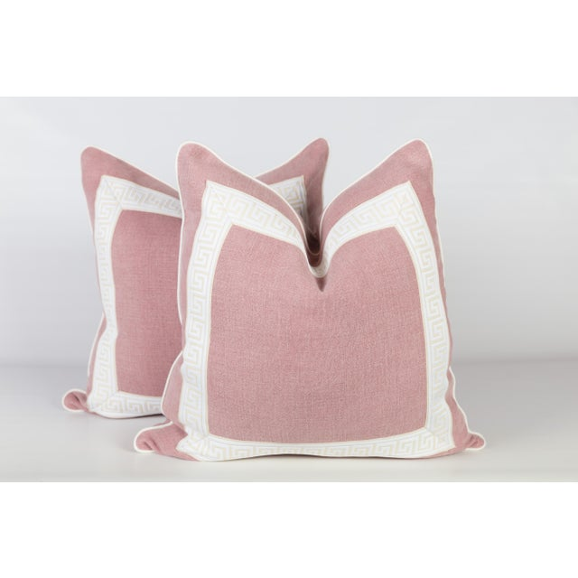 Pink Linen & Ivory Greek Key Pillows - A Pair For Sale - Image 5 of 5