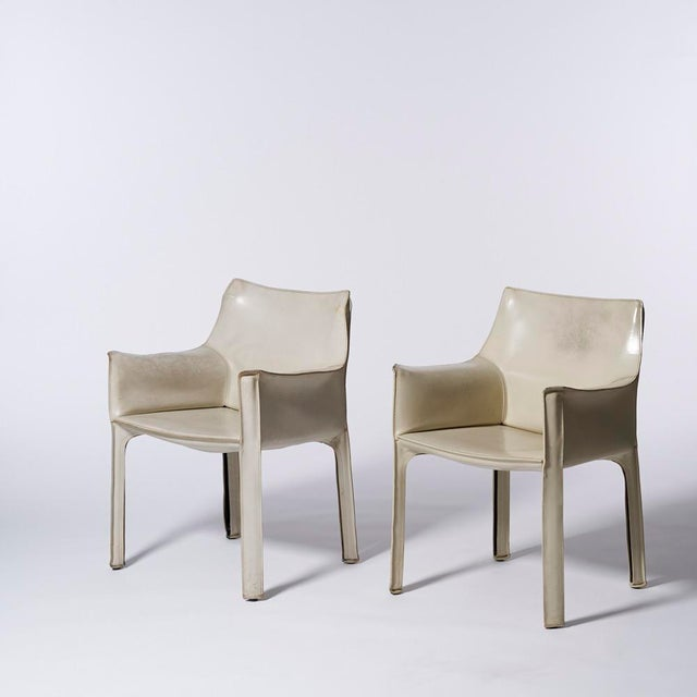 Animal Skin Mario Bellini for Cassina White Leather Cab Dining Arm Chairs - a Pairing For Sale - Image 7 of 8