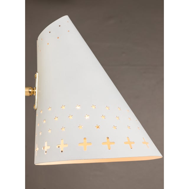 White 1950s Danish Perforated Sconces Attributed to Bent Karlby - a Pair For Sale - Image 8 of 13