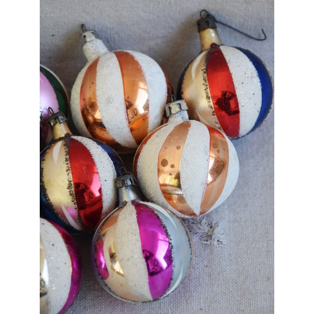 Blue Midcentury Swirl Glitter Colorful Christmas Tree Ornaments W/Box - Set of 12 For Sale - Image 8 of 10