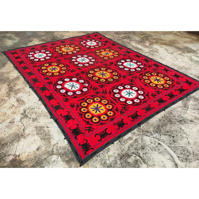 Handmade Red Suzani Textile For Sale - Image 5 of 6