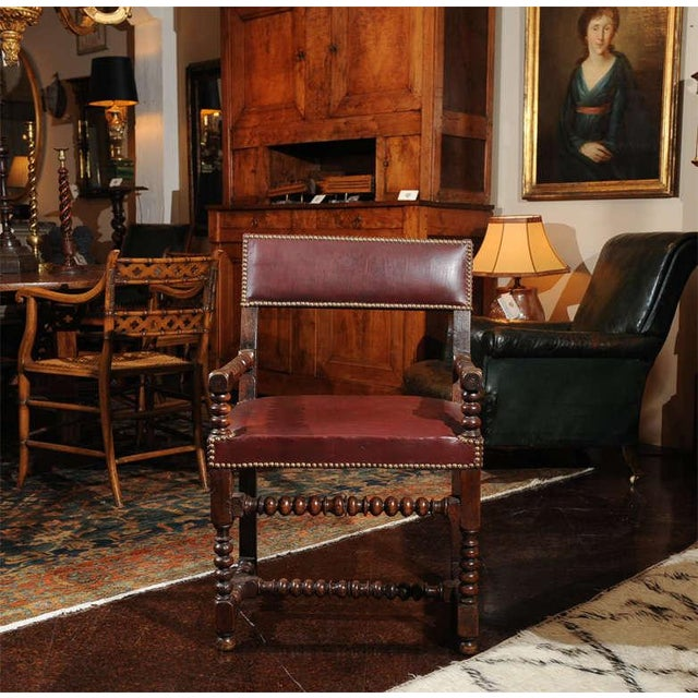 Brown Bobbin Turned Walnut Armchair with Red Leather Upholstery For Sale - Image 8 of 9