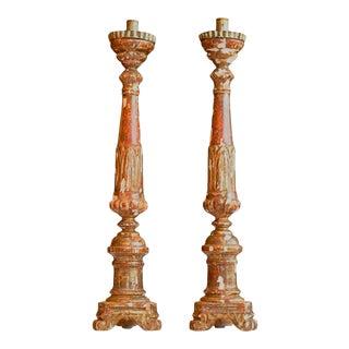 19th Century Italian Giltwood Altar Candelsticks - a Pair For Sale