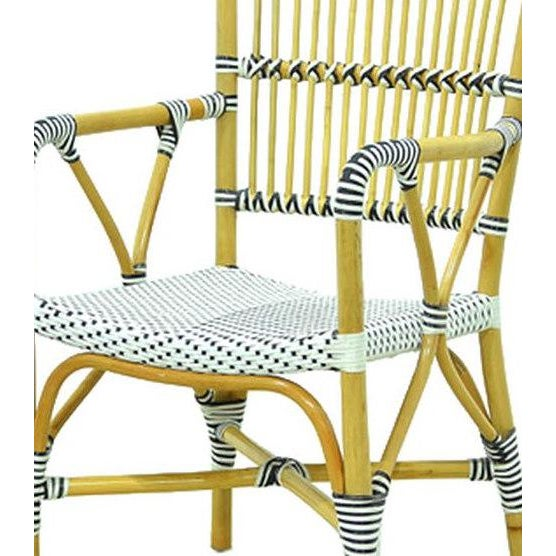 Veranda Rattan and Synthetic Woven Armchair From Indonesia. 21 inches wide, 25 inches deep, 37 inches high. From Indonesia
