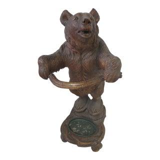 Carved Black Forest Bear Umbrella Stand For Sale