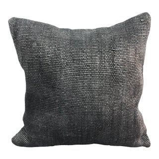 Turkish Dark Gray Anatolian Boho Hemp Pillow For Sale