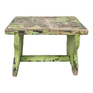 1920s French Handcrafted Green Painted Milking Stool For Sale