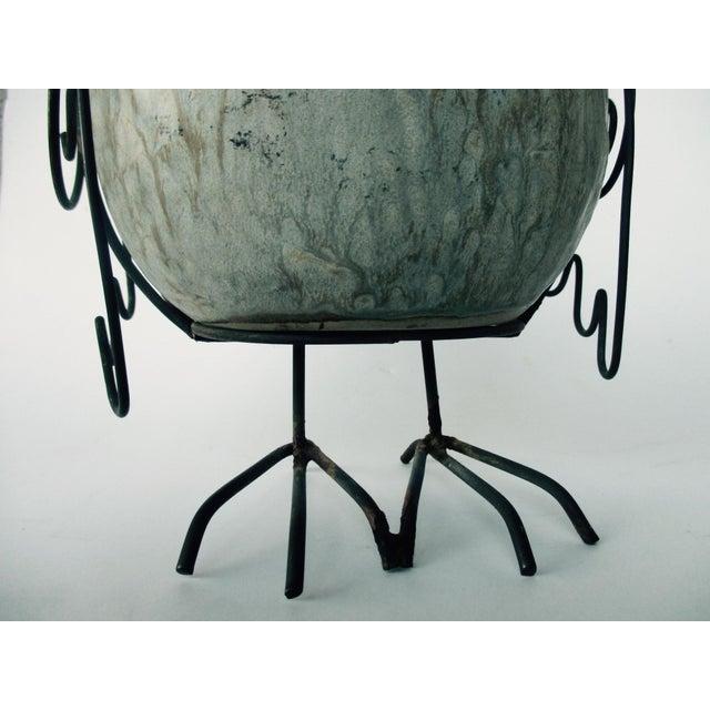 Ceramic Glazed Owl on Wire Stand - Image 7 of 10