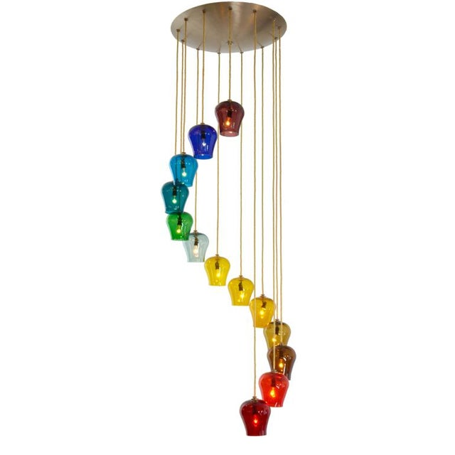 Fabric Morris Lapidus Rainbow Spiral Glass Chandeliers - a Pair For Sale - Image 7 of 7