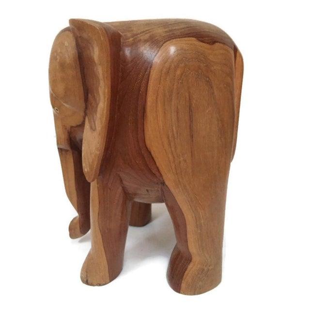 1980s Vintage Carved Wood Elephant Pedestal Statue 11 Inch For Sale - Image 5 of 12