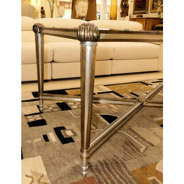 1980s LaBarge Hollywood Regency Brass & Steel Coffee Table For Sale - Image 5 of 13