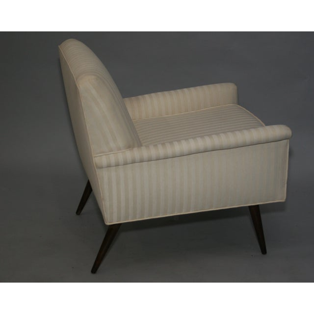 Mid-Century Modern Ivory Stripe Lounge Chair - Image 6 of 8