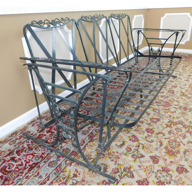 Lee L. Woodard & Sons Vintage Lee Woodard & Sons Wrought Iron Glider Sofa For Sale - Image 4 of 11