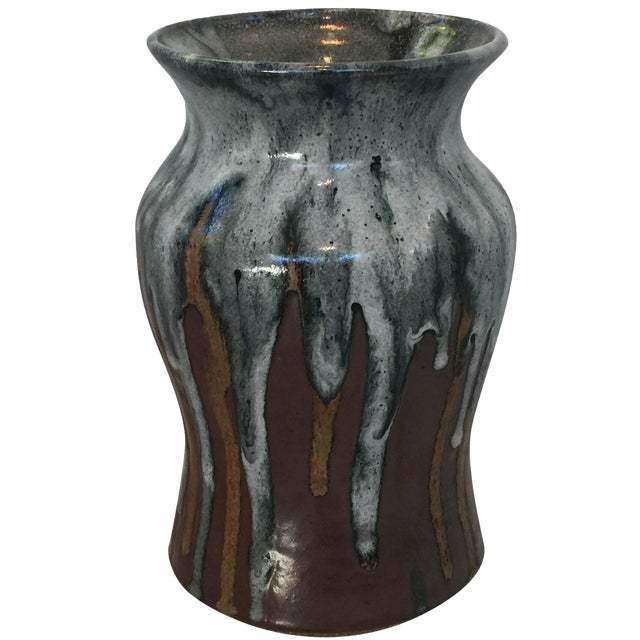 Vintage Mid-Century Glazed Pottery Vase For Sale