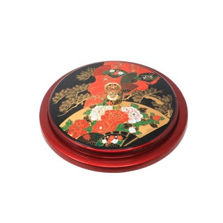 Vintage Melamine Lacquerware Lazy Susan With Fans, Flowers and Bonsai Tree For Sale