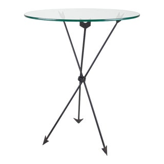 1950s Mid Century Iron and Glass Arrow Side Table For Sale