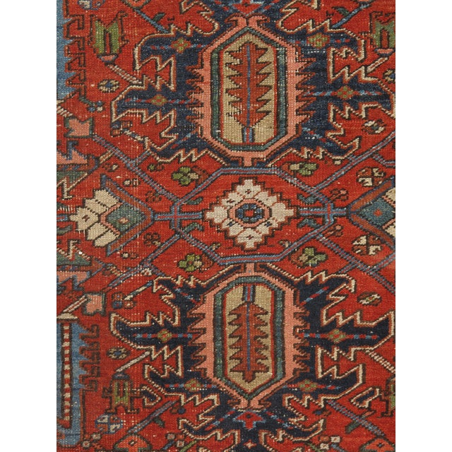 "Vintage Shabby Chic Red Heriz Rug 7'4"" X 10'8"" For Sale - Image 4 of 5"
