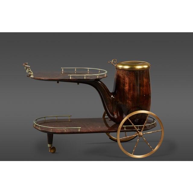 Charming Aldo Tura Bar Cart For Sale - Image 11 of 11