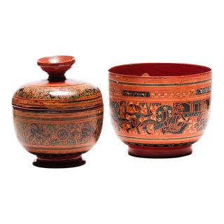 Antique Burmese Lacquered Bow and Cup With Lid Set For Sale