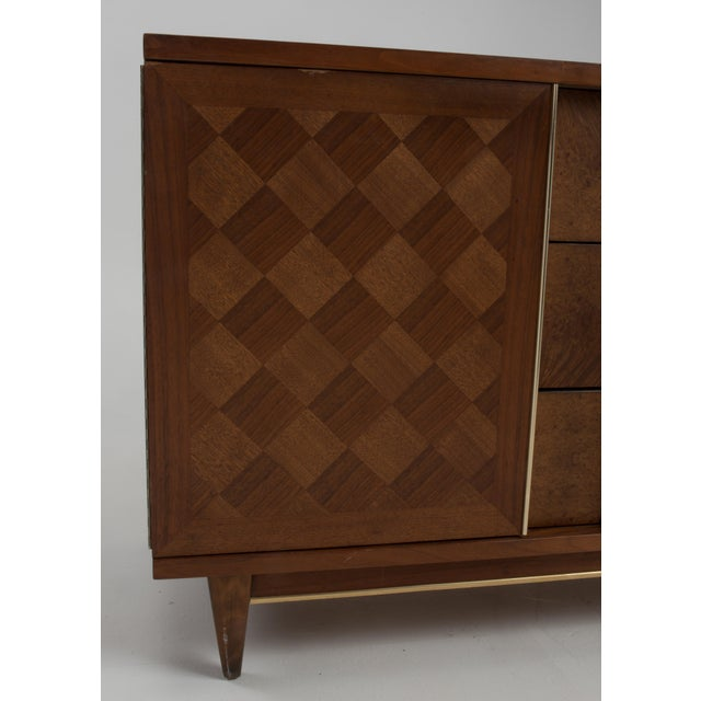 "Metal Vintage Witz ""The Basic Line"" Furniture Mid Century Marquetry Burl Walnut Brass Dresser 1960s For Sale - Image 7 of 12"