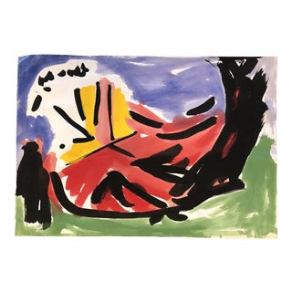 """Vintage Original Robert Cooke Abstract """" Dancing Chicken """"Painting For Sale"""