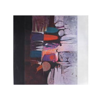Paul Maxwell Abstract Modernist Oil Painting on Canvas 1971 For Sale