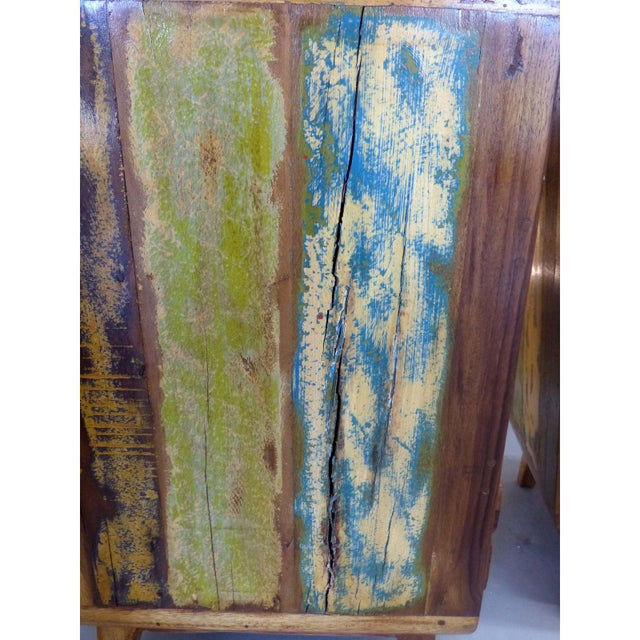 1950's Style Distressed Finish Wood Nightstands -A Pair - Image 9 of 10