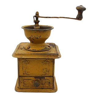 Vintage French Tin Coffee Grinder For Sale