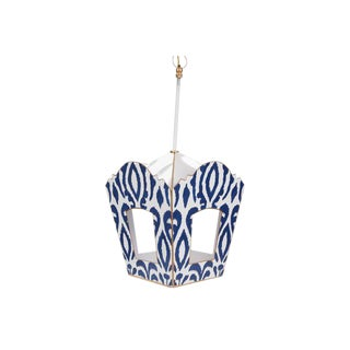 Modern Dana Gibson Navy Ikat Steel Lantern For Sale