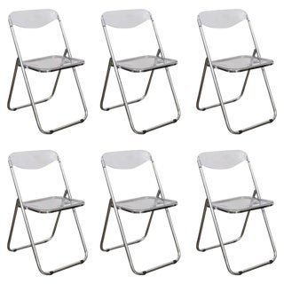 Mid Century Modern set of Six Lucite and Metal Folding Chairs