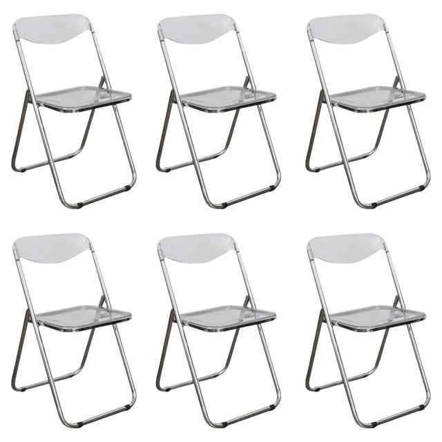 Mid Century Modern set of Six Lucite and Metal Folding Chairs - Image 1 of 7