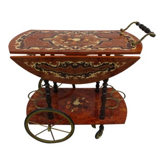 Italian Marquetry Bar Cart For Sale