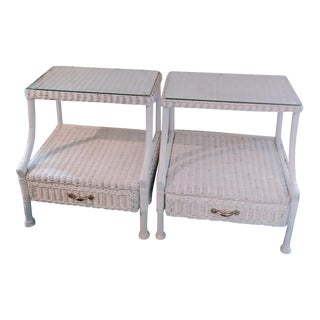 White Vintage Curved Wood Arms Wicker Glass Top Night Stand Tables -A Pair For Sale