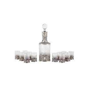 19th Century French Silver Mounted Cased Liquor Set by Alphonse Debain