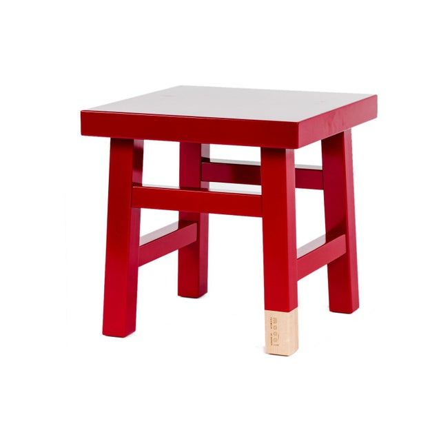 2020s Mooooi Red Lacquered Solid Birch Farmer Side Table For Sale - Image 5 of 5