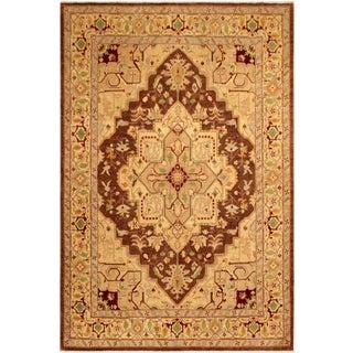 Southwestern Kafkaz Peshawar Shaunda Brown/Lt. Tan Wool Rug - 8'11 X 11'9 For Sale