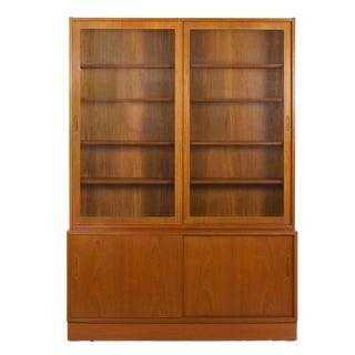 Vintage Danish Mid Century Modern Teak Bookcase Bookshelf Cabinet by Poul Hundevad For Sale