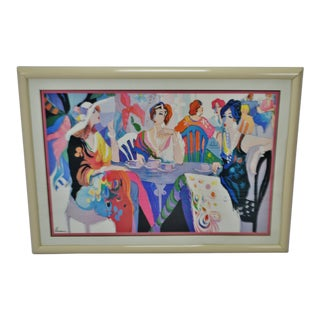 Vintage Framed Isaac Maimon Deco Parisian Women at Cafe Print For Sale
