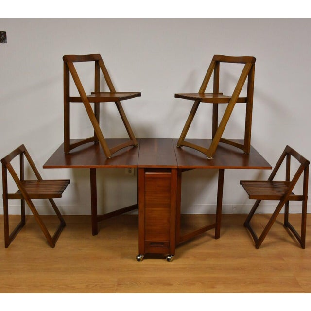 Walnut Dining Table and Self Storing Chairs - Set of 5 For Sale - Image 11 of 11