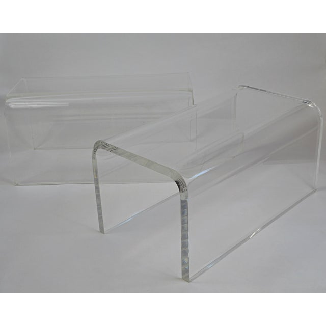 "A pair of vintage 1960s-70s rolled edge Lucite low (12"" in height) waterfall tables. Can be used as side or cocktail..."
