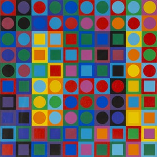 """1960s Victor Vasarely, """"Planetary Folklore Participations No. 1"""", Op Art Screenprint For Sale"""