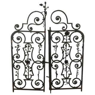 Arts & Crafts Decorative Wrought Iron Gates - A Pair For Sale