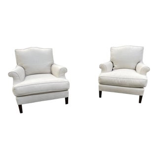 Pair of Nancy Corzine Upholstered Lounge Chairs For Sale