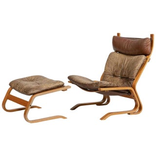 Vintage Mid-Century Elsa and Nordahl Solheim for Rykken Norwegian 'Kengu' Lounge Chair & Ottoman - 2 Pieces For Sale