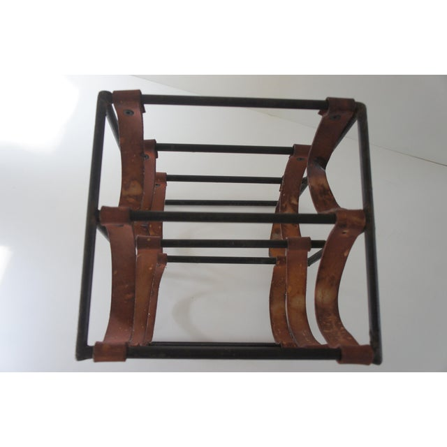 Black Mid-Century Modern Arthur Umanoff Sculptural Wrought Iron and Leather Wine Rack For Sale - Image 8 of 13