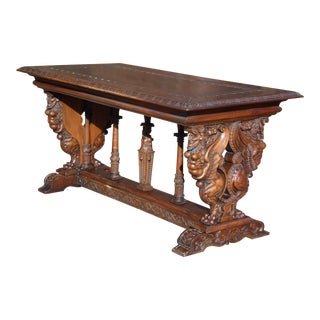 19th Century Italian Renaissance Style Carved Walnut Refectory Hall Table For Sale