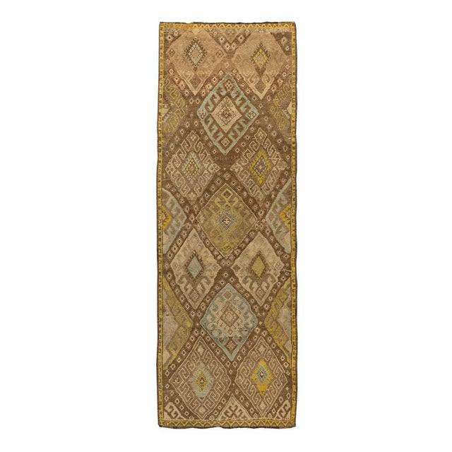 Contemporary Vintage Brown Turkish Runner Rug 3'x10' For Sale - Image 3 of 5
