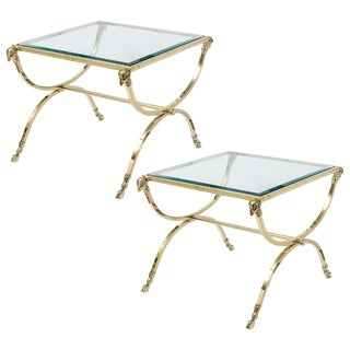 Vintage Mid Century Italian Hollywood Regency Brass Side Tables- a Pair For Sale