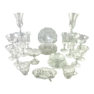 1940s Cambridge Chantilly Glassware Luncheon Set - 26 Pieces For Sale