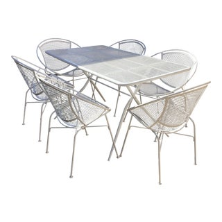 Salterini White Metal Table and Chairs Patio Dining Set